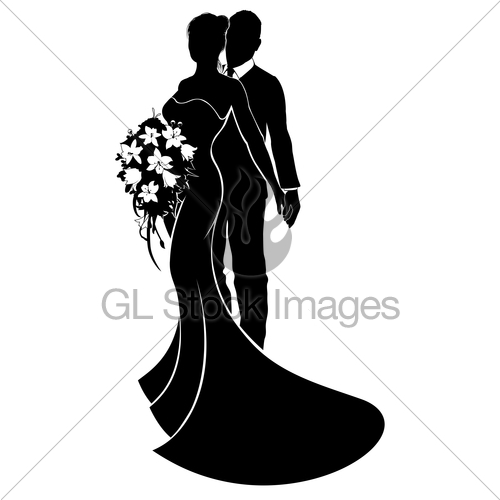 500x500 Wedding Couple Bride And Groom Silhouette Gl Stock Images