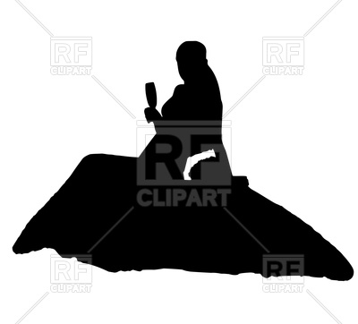 400x362 Silhouette Of Sitting Bride With Glass Royalty Free Vector Clip