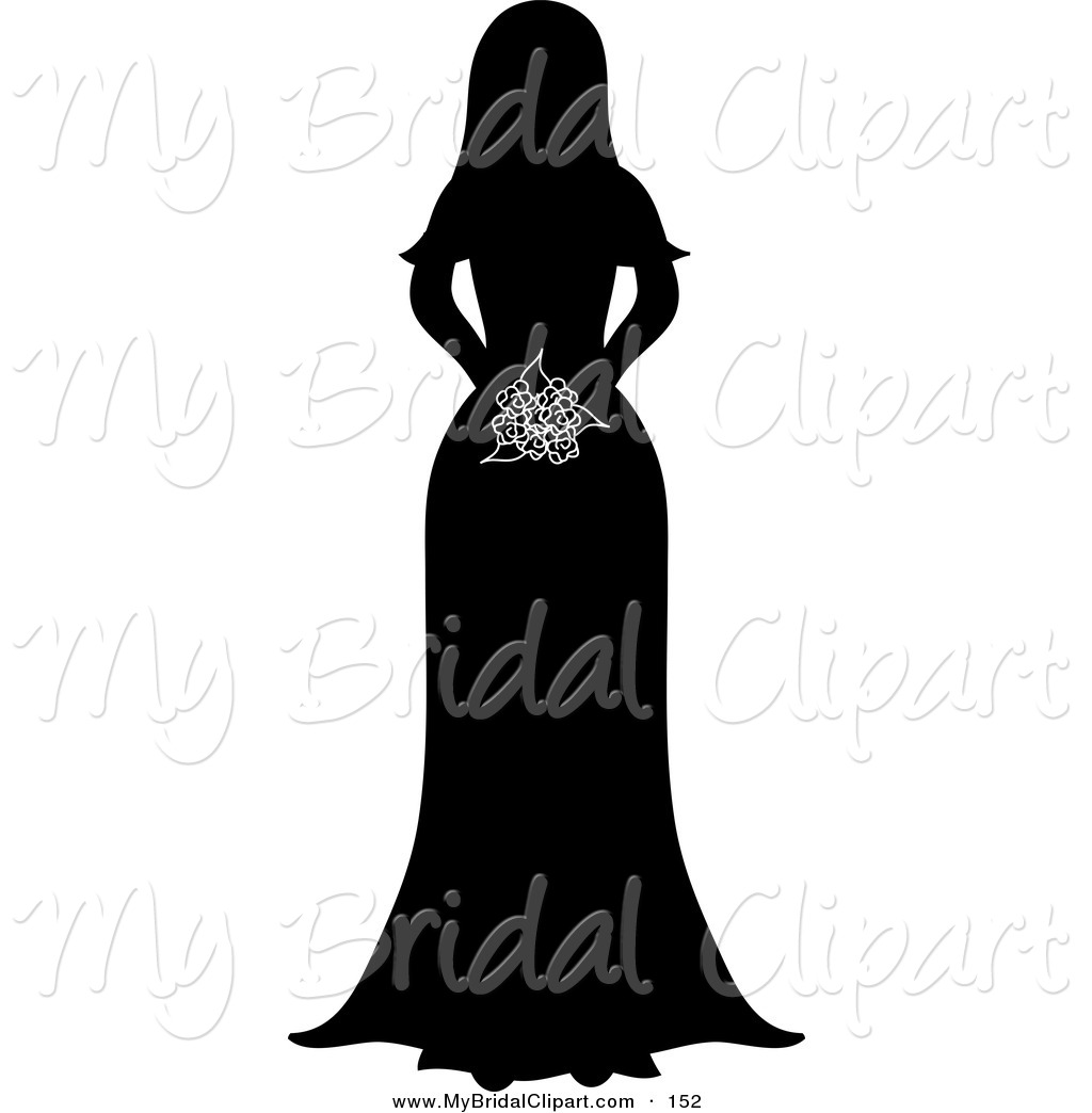 1024x1044 Bridal Clipart Of A Silhouetted Bride Holding Her Bouquet On White