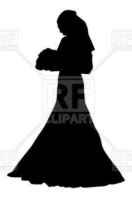 267x400 Silhouette Of Bride With Flowers Royalty Free Vector Clip Art