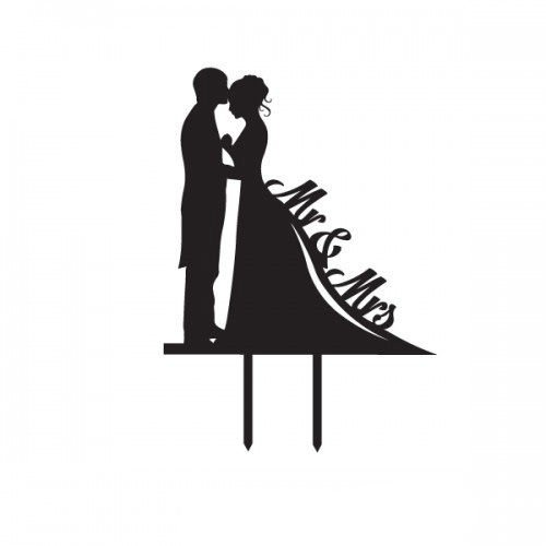 500x500 Buy Silhouette Bride And Groom Wedding Cake Topper Mr Amp Mrs
