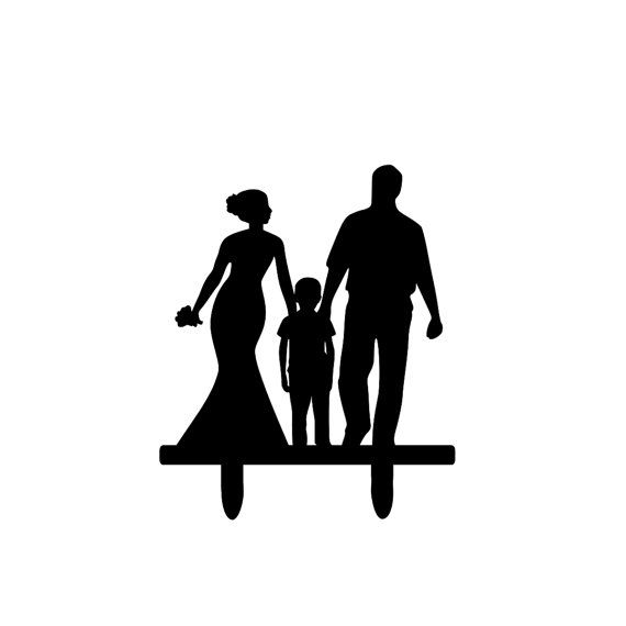 570x570 Wedding Cake Topper With Kids In The Middle Family Silhouette Cake