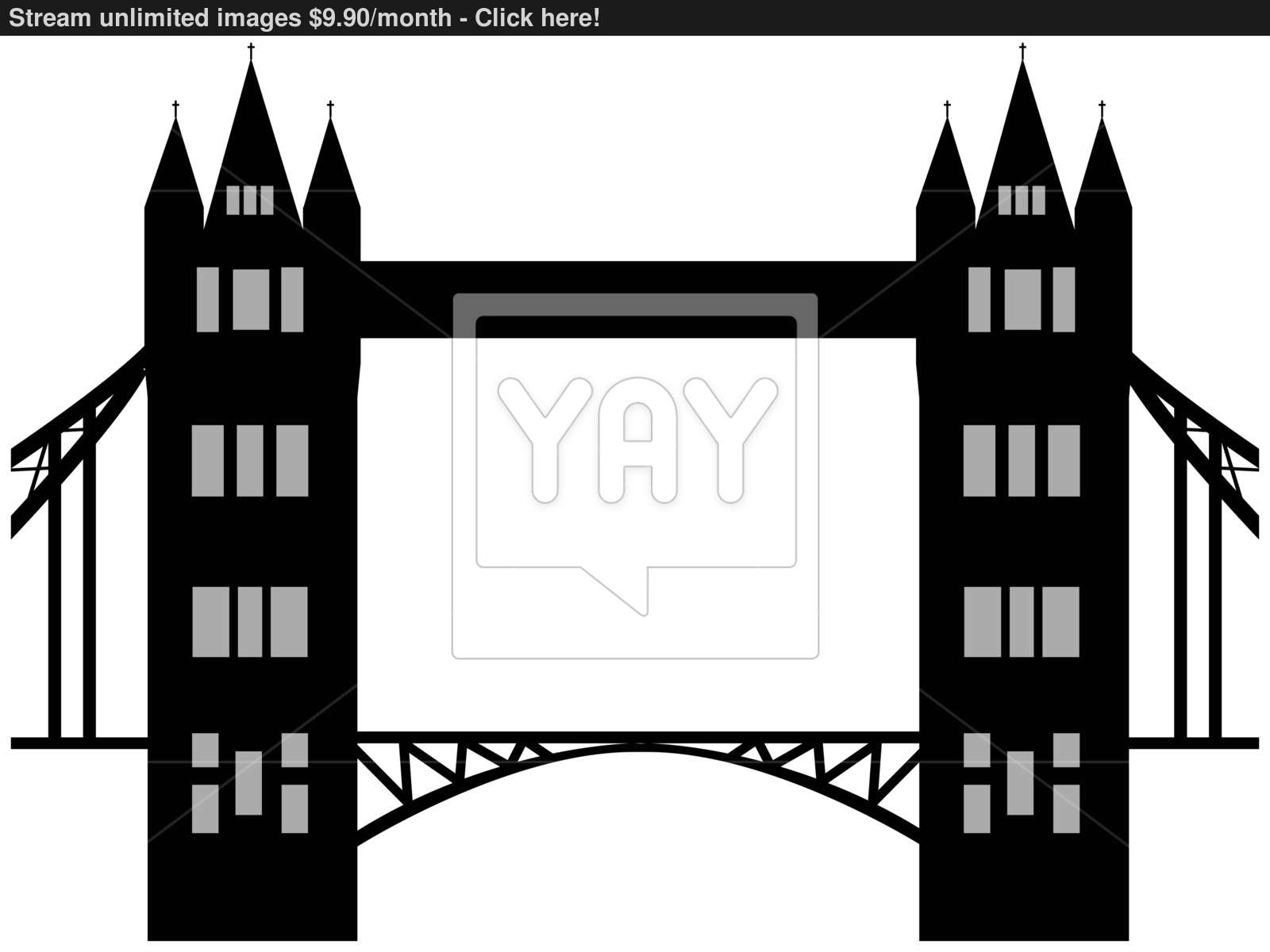 1600x1200 Image Of Cartoon Tower Bridge Silhouette. Vector Illustration