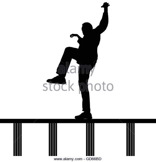 520x540 Man Black Silhouette Crossing Bridge Stock Photos Amp Man Black