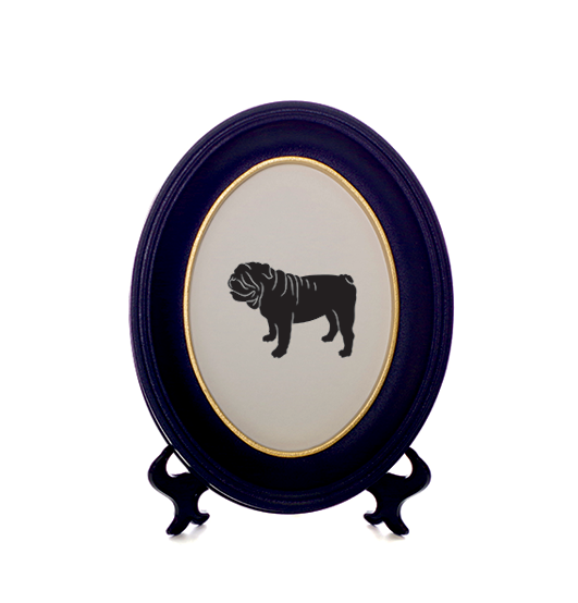 531x554 English British Bulldog Silhouette Cut Out In Black With Gold