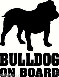 230x300 British Bulldog On Board, Car Sticker, Silhouette. Great Gift