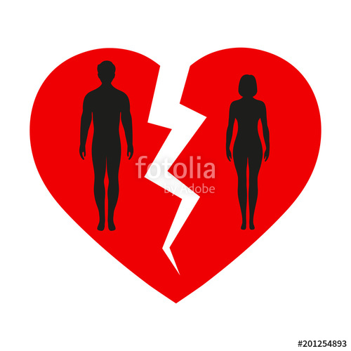 500x500 Silhouette Of A Man And A Woman Against A Broken Heart Stock