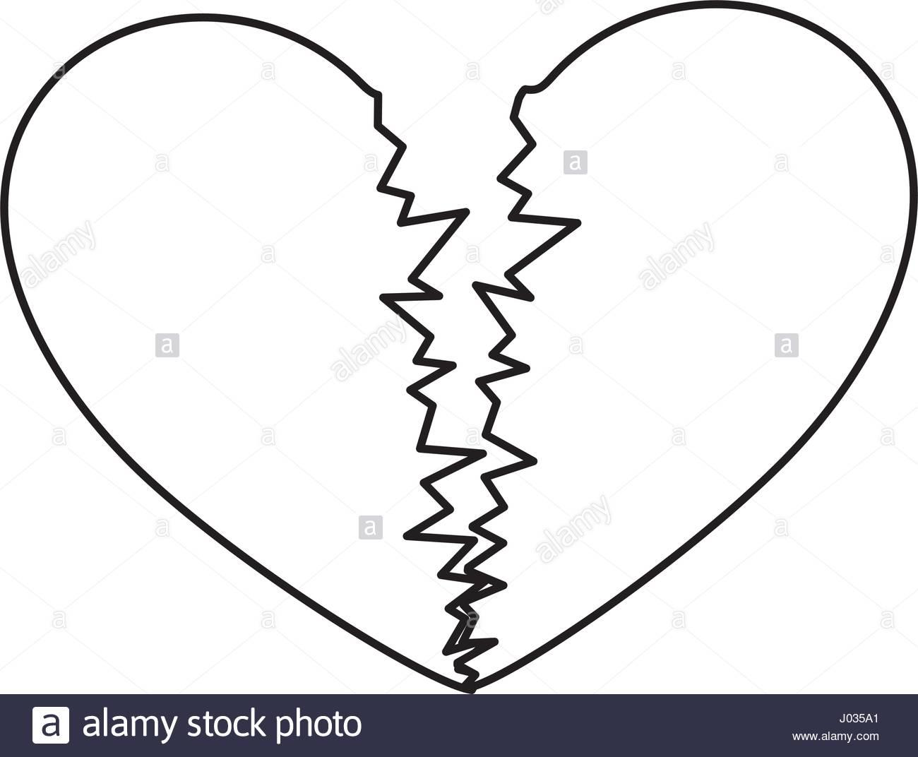1300x1072 Sketch Silhouette Broken Heart Icon Flat Stock Vector Art