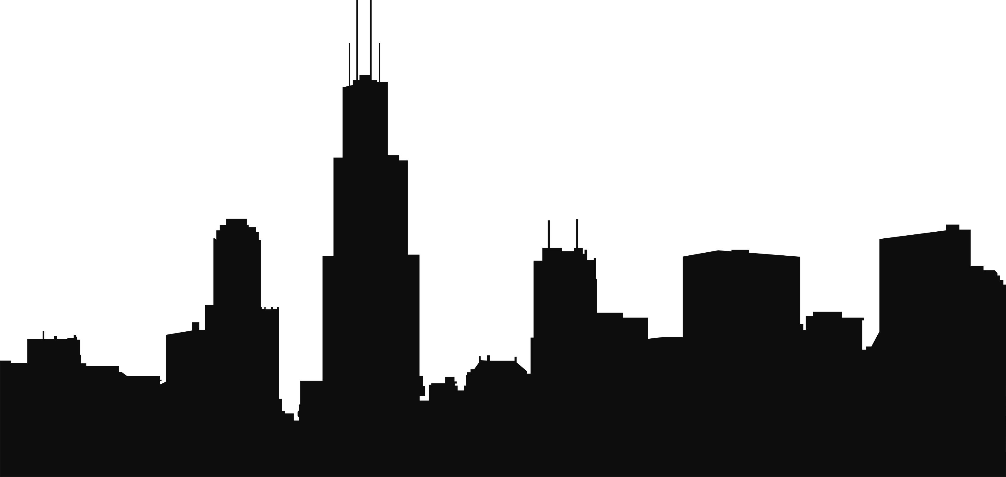 3307x1569 City Skyline Silhouette Drawing