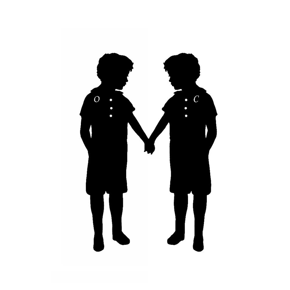 1000x1000 Personalized Twin Silhouette Print Brother Sister Custom Black
