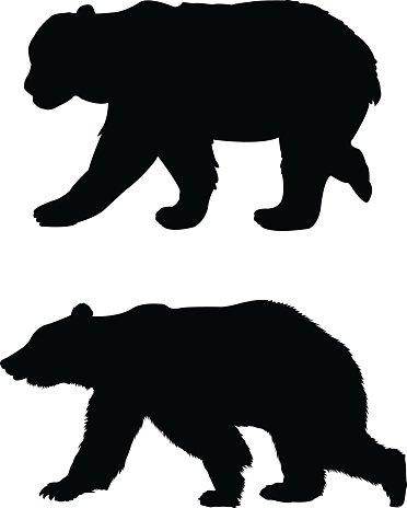 372x464 Bears Silhouette Premium Clipart