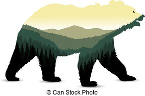 292x194 Silhouette Of Bear. Silhouette Of Standing Brown Bear. Clip Art