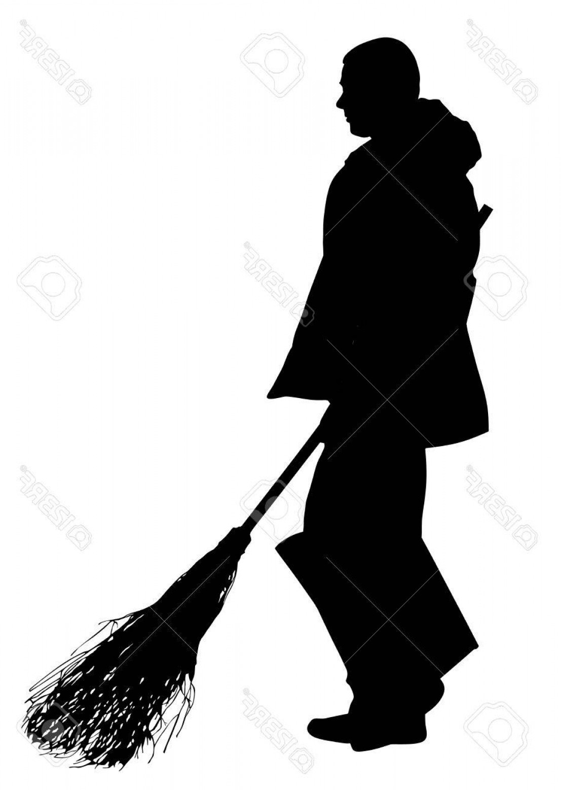 1107x1560 Photostock Vector Worker Sweeping With Besom Vector Silhouette Man