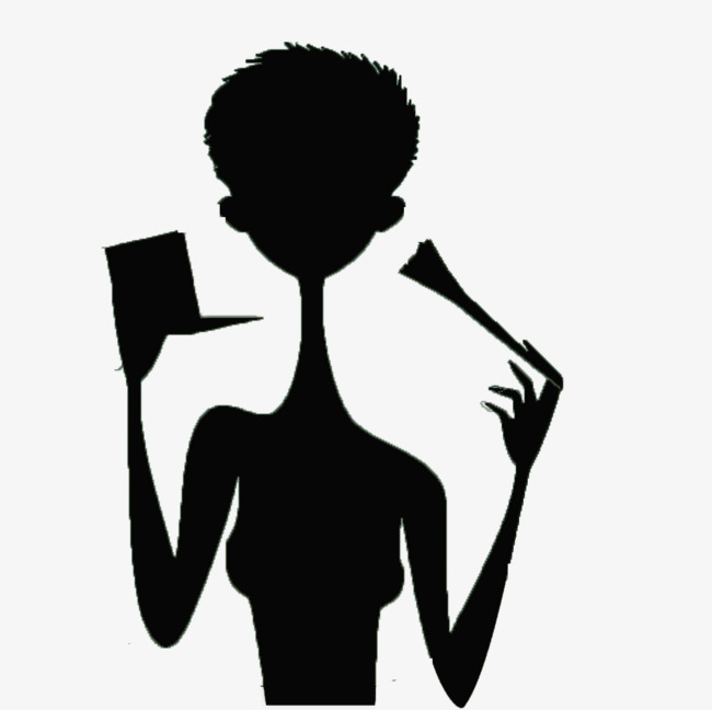 650x648 Short Haired Girl Holding A Makeup Brush Black Silhouettes, Girl