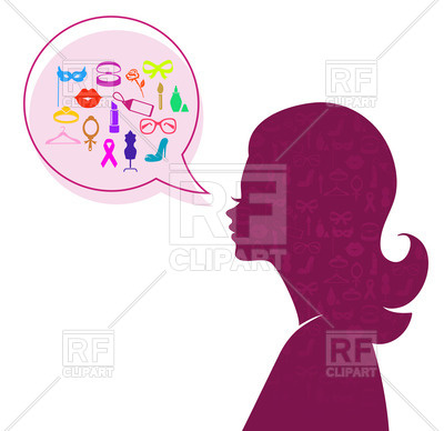 400x388 Silhouette Of Woman Head With Speech Bubble Royalty Free Vector
