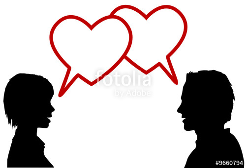 500x343 Silhouette Couple Talk Love In Heart Speech Bubbles Stock Image