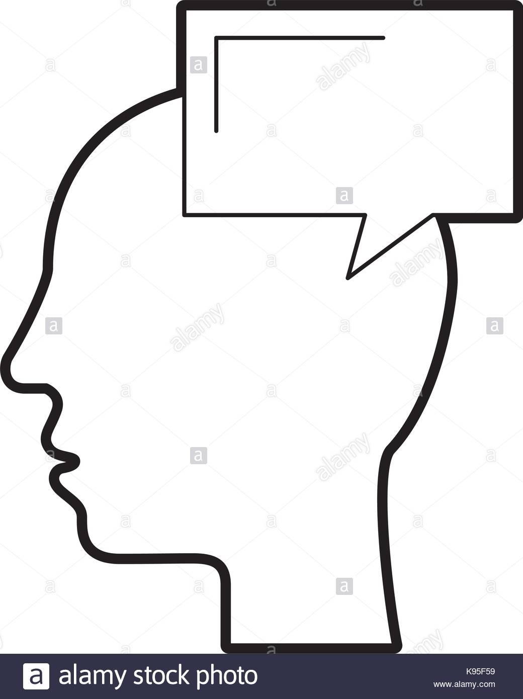 1040x1390 Silhouette Head Human Speech Bubble Communication Stock Vector Art