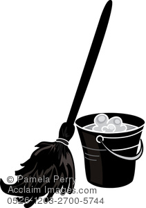211x300 Clip Art Illustration Of Mop And Bucket In Silhouette