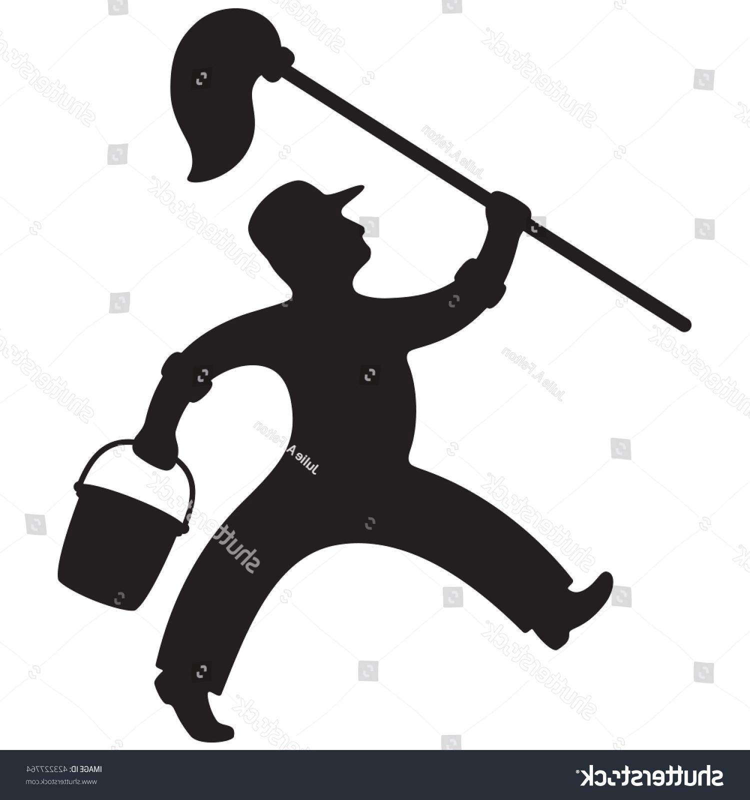 1500x1600 Best Stock Vector Silhouette Of Janitor With Mop And Bucket Photos