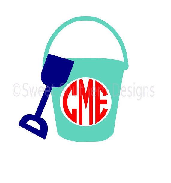 570x607 Monogram Beach Pail Bucket Shovel Svg Instant Download Design