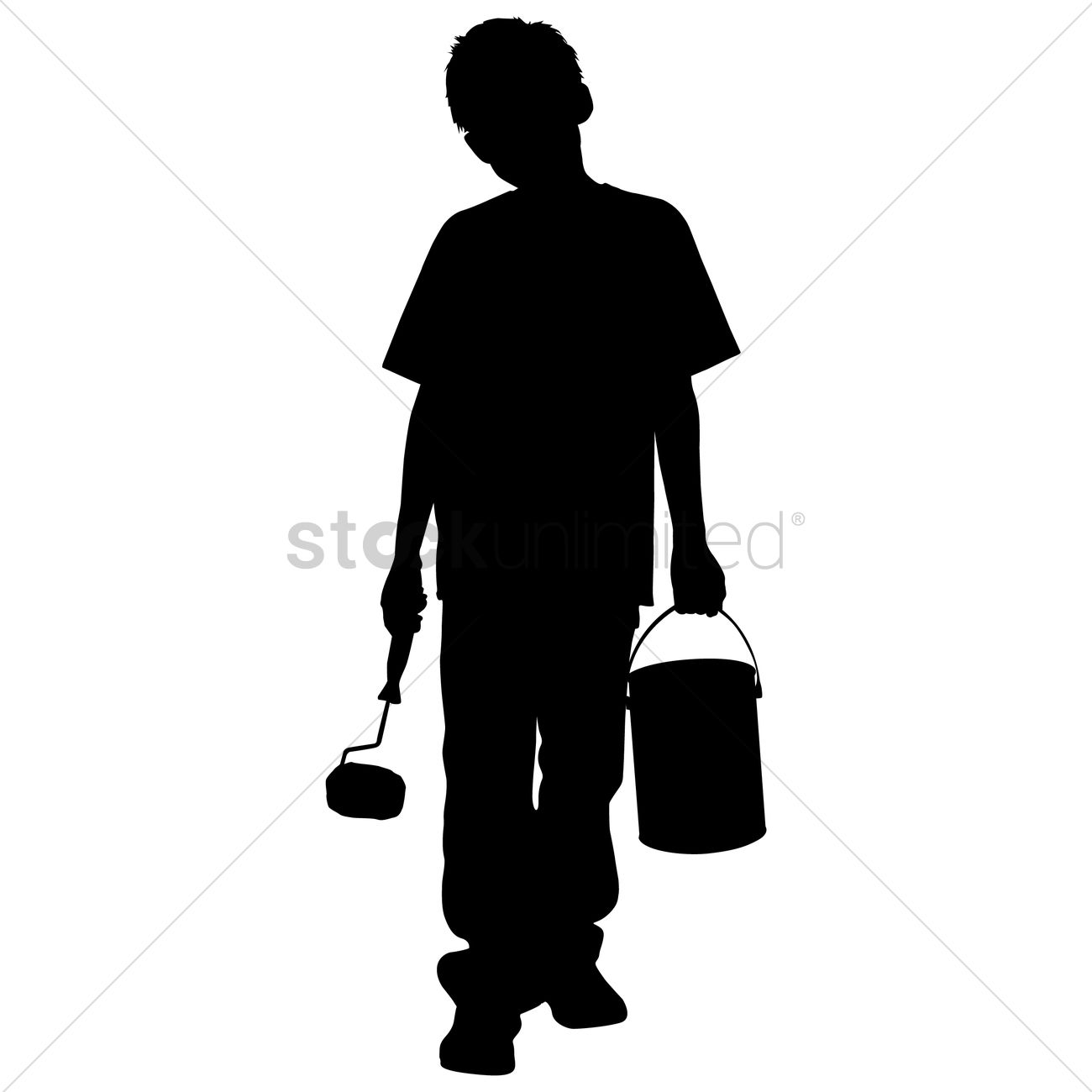 1300x1300 Silhouette Of A Boy With Paint Roller And Bucket Vector Image