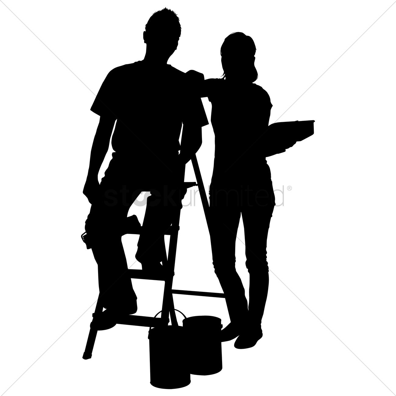 1300x1300 Silhouette Of A Man And Woman With Paint Roller And Bucket Vector