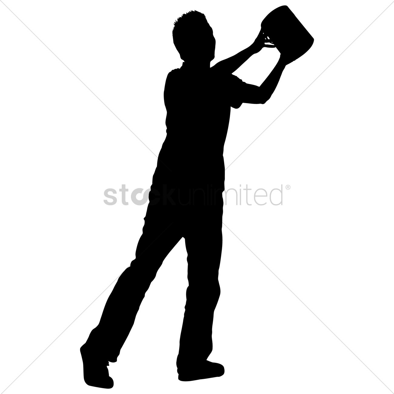 1300x1300 Silhouette Of A Man Holding Paint Bucket Vector Image
