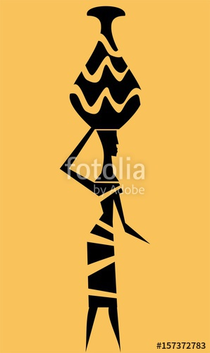 298x500 Silhouette Of African Woman Carrying A Bucket Of Water On Her Head