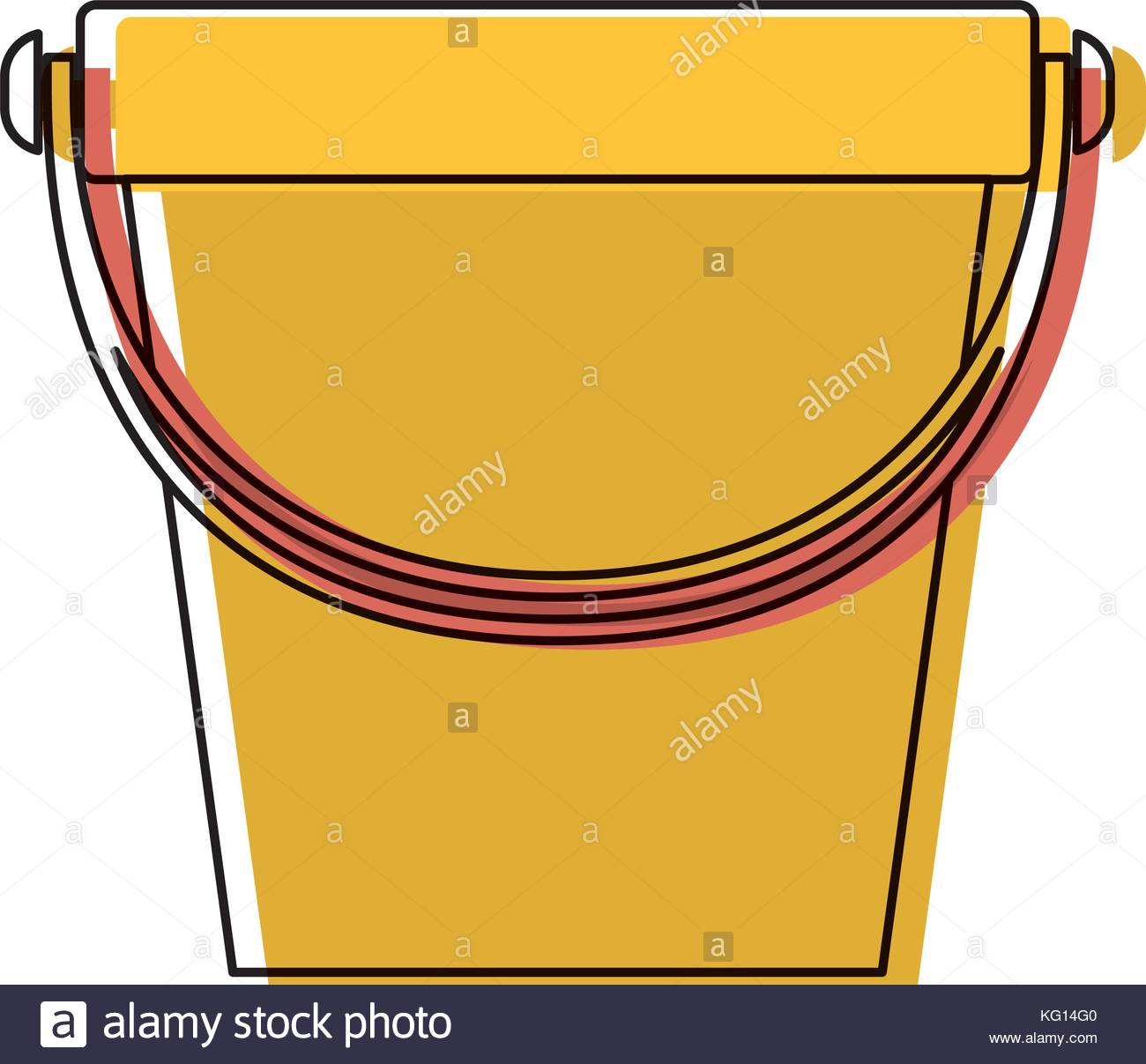 1300x1207 Bucket With Handle In Colorful Watercolor Silhouette Stock Vector
