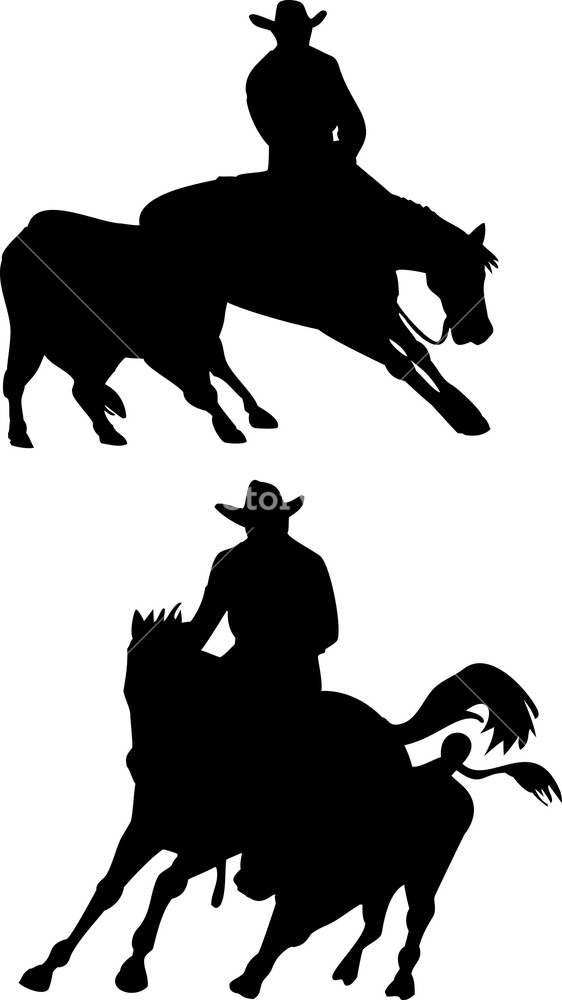 562x1000 Rodeo Cowboy Horse Riding Silhouette Royalty Free Stock Image