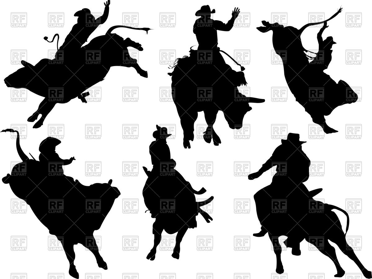 1200x899 Rodeo Silhouettes Royalty Free Vector Clip Art Image