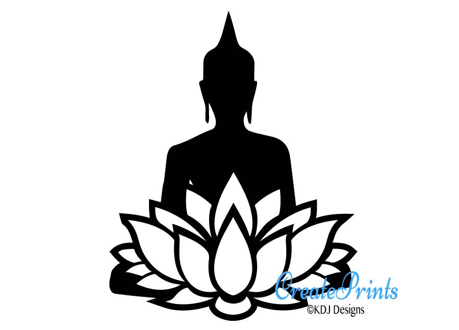 900x648 Buddha With A Lotus Flower Silhouette Clipart Image Instant