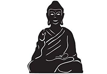 355x246 Silhouette Meditating Buddha , Vinyl Stickers , Sticker , H = 50cm