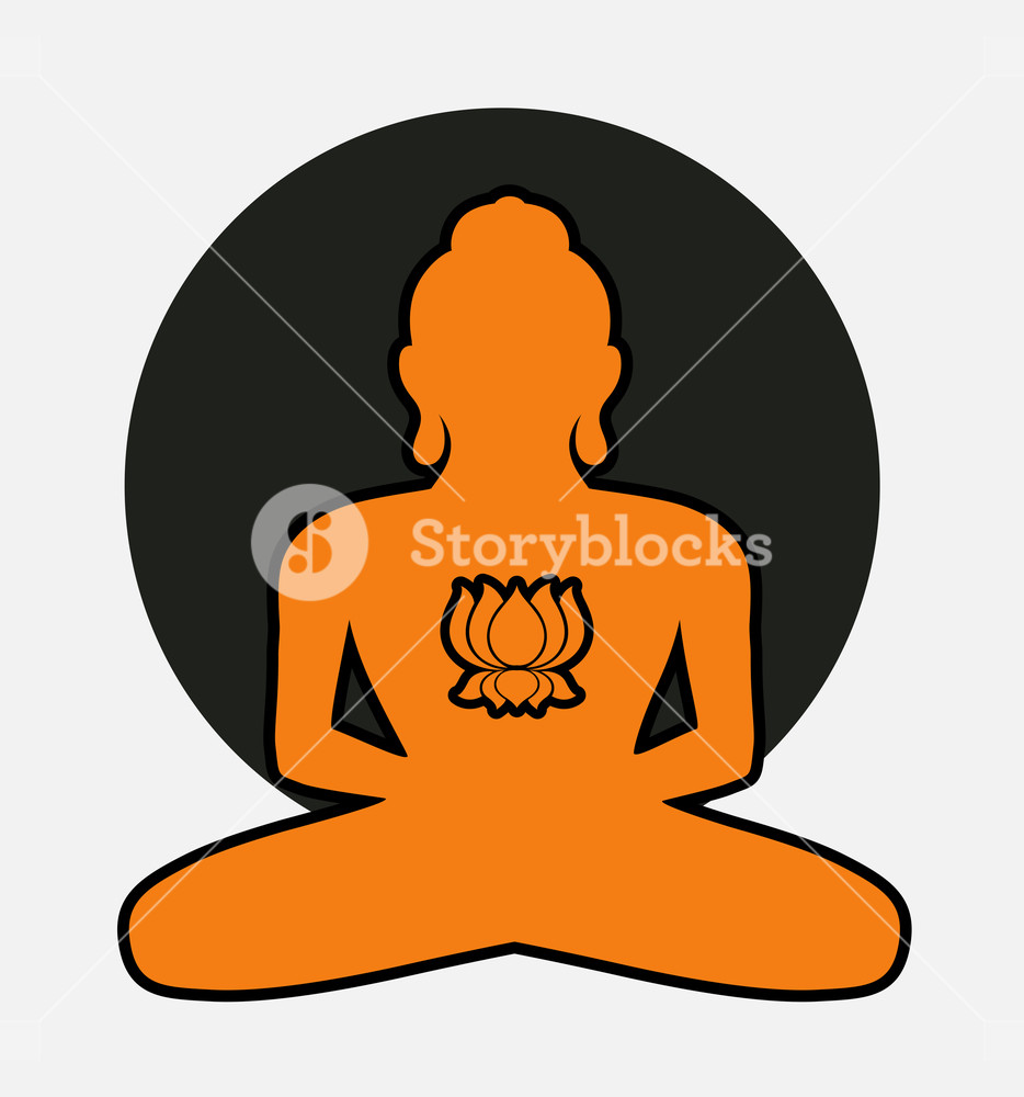 934x1000 Vintage Buddha Silhouette With Lotus Flower Vector Illustration