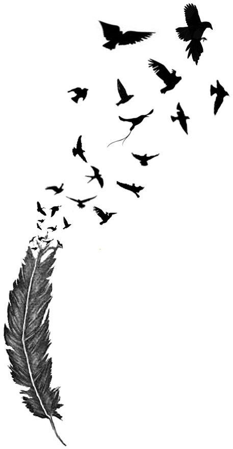 457x880 Feather Into Birds Tattoo Tattoos Feathers, Tattoo