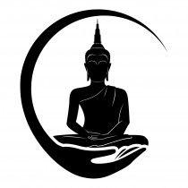 210x210 Boeddha In Hand Muursticker Raamsticker Cameo