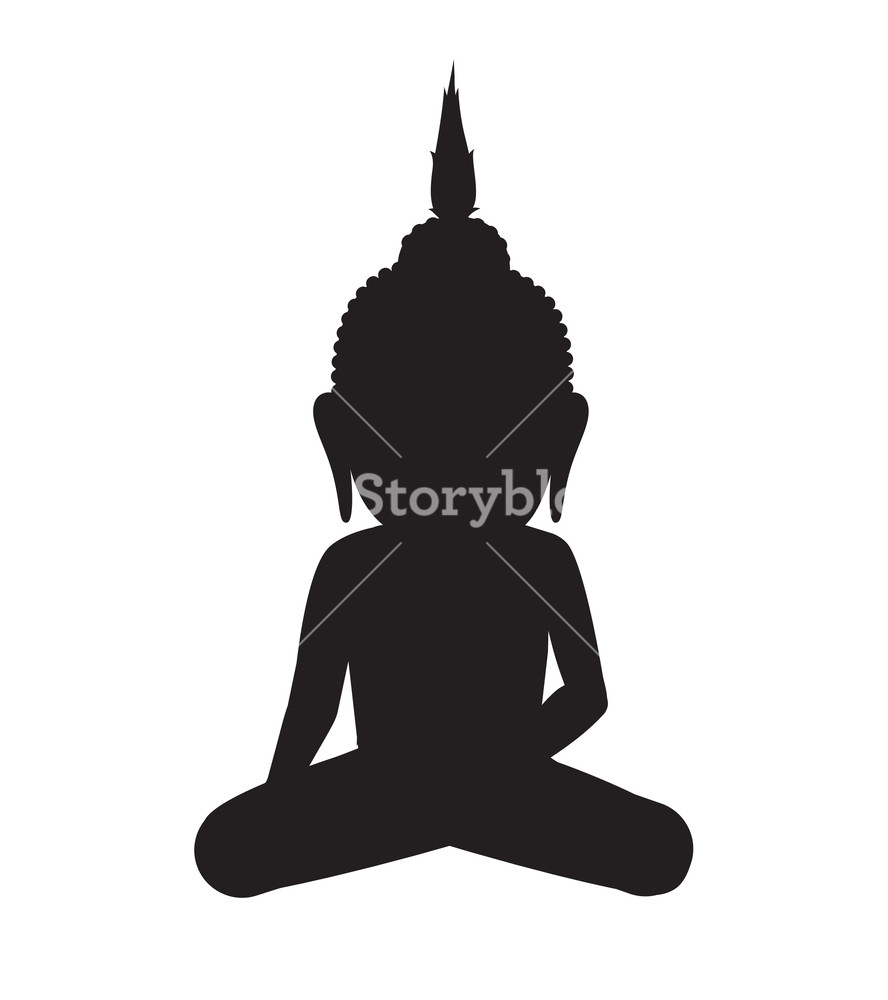 888x1000 Gautama Buddha Vector Silhouette Illustration Royalty Free Stock