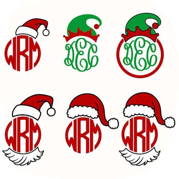 570x570 Santa Hat Elf Christmas Monogram Cuttable Design By Cuttablesvg