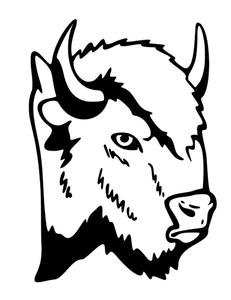 231x300 Buffalo Head 2 Silhouette Mascot Decal Visions On Vinyl