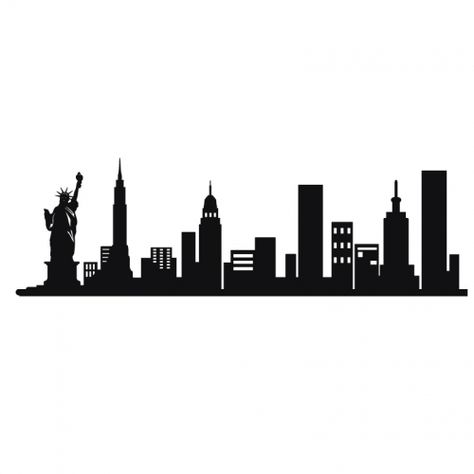 474x474 New York City Skyline Silhouette Vinyl Wall Art Sticker Outline