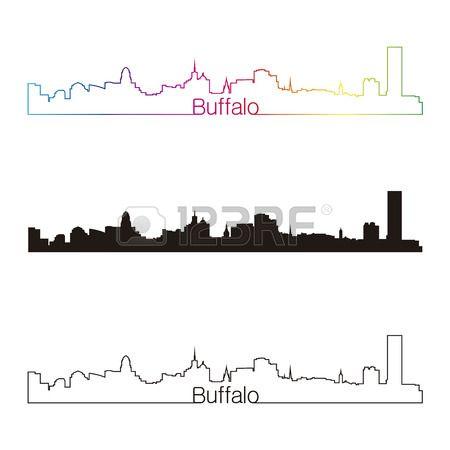 450x450 Buffalo Skyline Linear Style With Rainbow In Editable Vector File