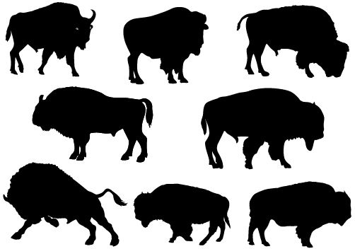502x352 Bison Silhouette Vectors Are Added To This Animal Vector Pack