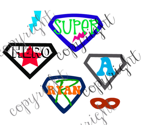 570x494 Superhero Cut File For Monogram With Place For Monogram By Zindee