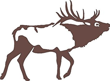355x261 Bull Bugle Elk Wall Decal (Brown