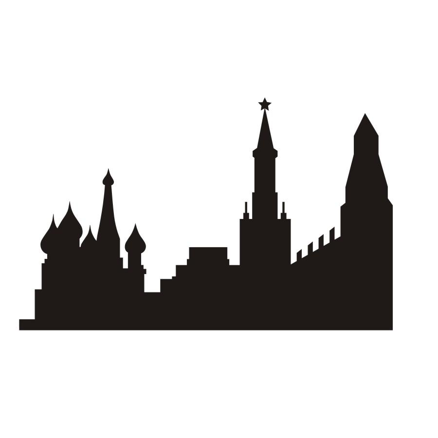 900x900 Russian City Wall Sticker Landmark Building Silhouette Vinyl