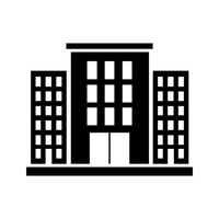 200x200 Silhouette Of Building Vector Image