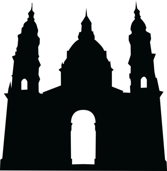 586x600 Vector Image Of A Silhouette Of Church Building.