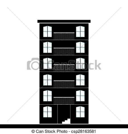 450x470 Abstract Building Silhouette On A White Background Vector