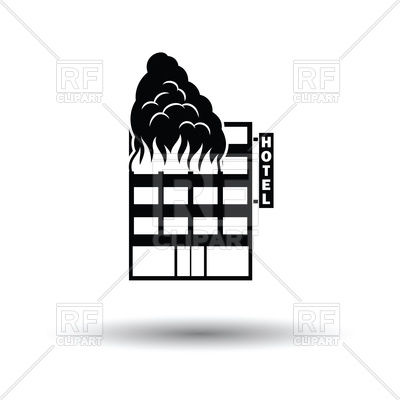 400x400 Hotel Building In Fire Icon Royalty Free Vector Clip Art Image
