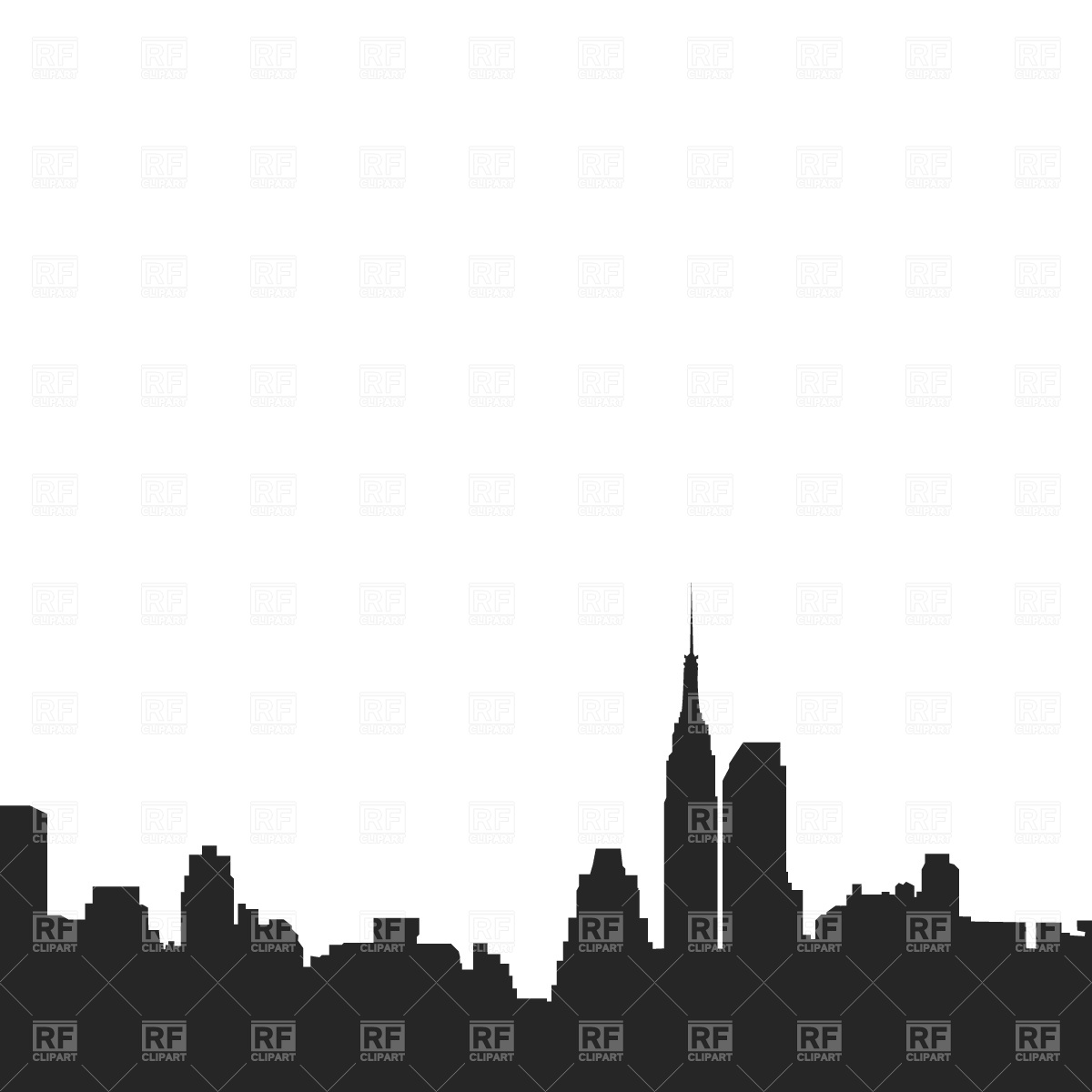 1200x1200 New York Downtown Silhouette Royalty Free Vector Clip Art Image